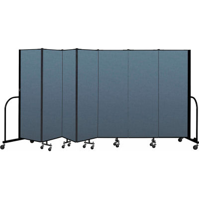 "Screenflex Portable Room Divider 7 Panel, 6'H x 13'1""L, Fabric Color: Blue"