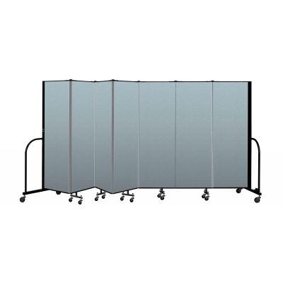 "Screenflex Portable Room Divider 7 Panel, 6'H x 13'1""L, Vinyl Color: Blue"
