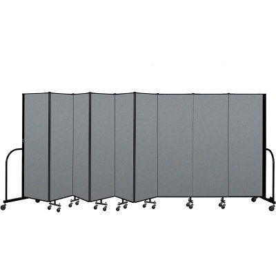 "Screenflex Portable Room Divider 9 Panel, 6'H x 16'9""L, Fabric Color: Gray"