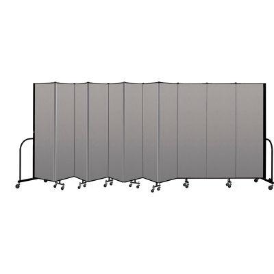 """Screenflex Portable Room Divider 11 Panel, 6'8""""H x 20'5""""L, Vinyl Color: Gray"""