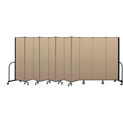 """Screenflex Portable Room Divider 11 Panel, 6'8""""H x 20'5""""L, Vinyl Color: Oatmeal"""