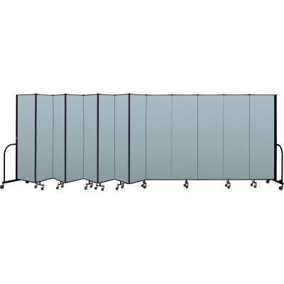 "Screenflex Portable Room Divider 13 Panel, 6'8""H x 24'1""L, Vinyl Color: Blue"