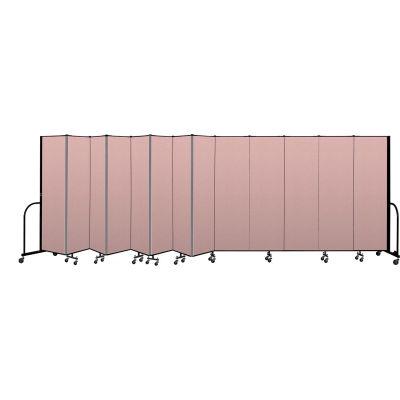 """Screenflex Portable Room Divider 13 Panel, 6'8""""H x 24'1""""L, Vinyl Color: Mauve"""
