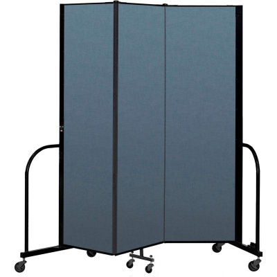 "Screenflex Portable Room Divider 3 Panel, 6'8""H x 5'9""L, Fabric Color: Blue"
