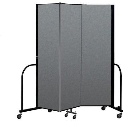 "Screenflex Portable Room Divider 3 Panel, 6'8""H x 5'9""L, Fabric Color: Gray"