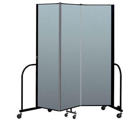 "Screenflex Portable Room Divider 3 Panel, 6'8""H x 5'9""L, Vinyl Color: Blue"