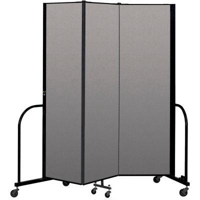 """Screenflex Portable Room Divider 3 Panel, 6'8""""H x 5'9""""L, Vinyl Color: Gray"""
