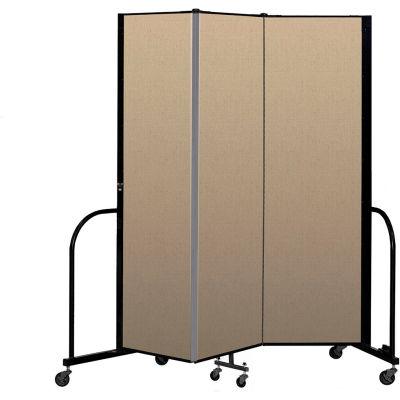 """Screenflex Portable Room Divider 3 Panel, 6'8""""H x 5'9""""L, Vinyl Color: Oatmeal"""