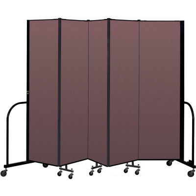 """Screenflex Portable Room Divider 5 Panel, 6'8""""H x 9'5""""L, Fabric Color: Mauve"""