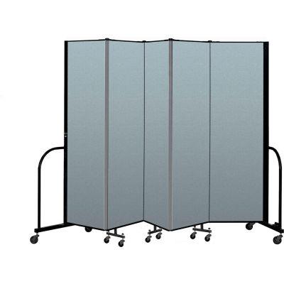 "Screenflex Portable Room Divider 5 Panel, 6'8""H x 9'5""L, Vinyl Color: Blue"