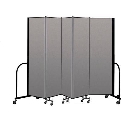 """Screenflex Portable Room Divider 5 Panel, 6'8""""H x 9'5""""L, Vinyl Color: Gray"""