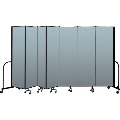 "Screenflex Portable Room Divider 7 Panel, 6'8""H x 13'1""L, Vinyl Color: Blue"