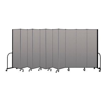 """Screenflex Portable Room Divider 11 Panel, 7'4""""H x 20'5""""L, Vinyl Color: Gray"""