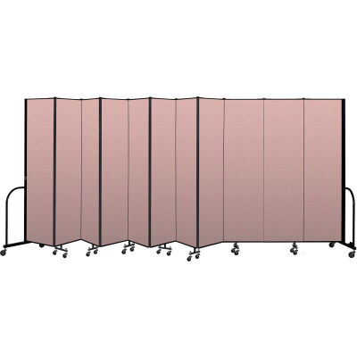 "Screenflex Portable Room Divider 11 Panel, 7'4""H x 20'5""L, Vinyl Color: Mauve"