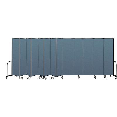 "Screenflex Portable Room Divider 13 Panel, 7'4""H x 24'1""L, Fabric Color: Blue"