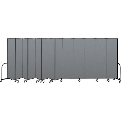 "Screenflex Portable Room Divider 13 Panel, 7'4""H x 24'1""L, Fabric Color: Gray"