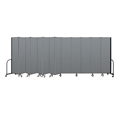 "Screenflex Portable Room Divider 13 Panel, 7'4""H x 24'1""L, Fabric Color: Gray"