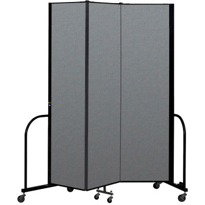 "Screenflex Portable Room Divider 3 Panel, 7'4""H x 5'9""L, Fabric Color: Gray"
