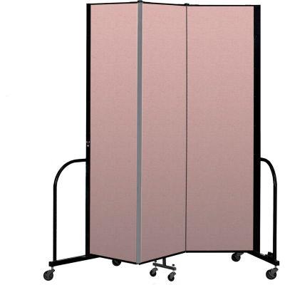 """Screenflex Portable Room Divider 3 Panel, 7'4""""H x 5'9""""L, Vinyl Color: Mauve"""