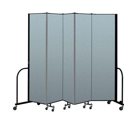 "Screenflex Portable Room Divider 5 Panel, 7'4""H x 9'5""L, Vinyl Color: Blue"