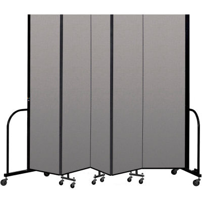 """Screenflex Portable Room Divider 5 Panel, 7'4""""H x 9'5""""L, Vinyl Color: Gray"""