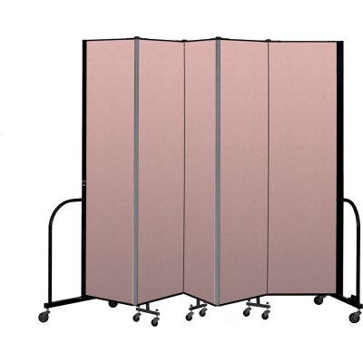 """Screenflex Portable Room Divider 5 Panel, 7'4""""H x 9'5""""L, Vinyl Color: Mauve"""