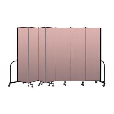 """Screenflex Portable Room Divider 7 Panel, 7'4""""H x 13'1""""L, Vinyl Color: Mauve"""
