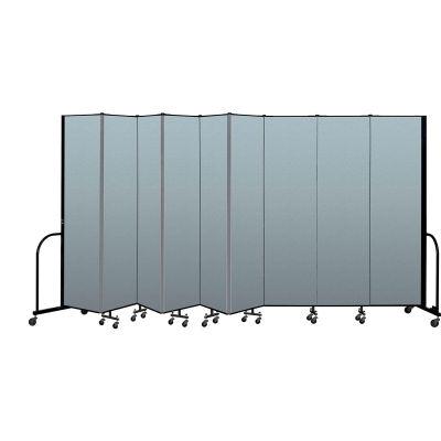 "Screenflex Portable Room Divider 9 Panel, 7'4""H x 16'9""L, Vinyl Color: Blue"