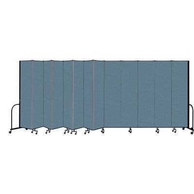 "Screenflex Portable Room Divider 13 Panel, 8'H x 24'1""L, Fabric Color: Blue"