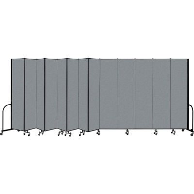 "Screenflex Portable Room Divider 13 Panel, 8'H x 24'1""L, Fabric Color: Gray"