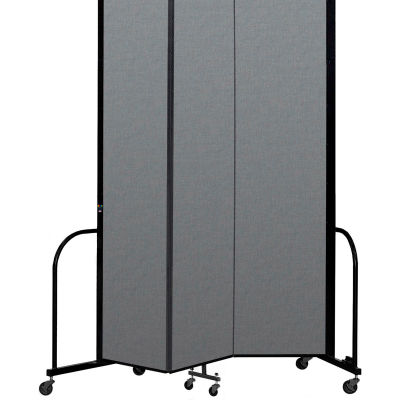 "Screenflex Portable Room Divider 3 Panel, 8'H x 5'9""L, Fabric Color: Gray"
