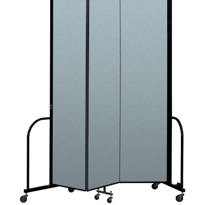 "Screenflex Portable Room Divider 3 Panel, 8'H x 5'9""L, Vinyl Color: Blue"