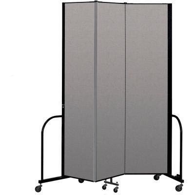 """Screenflex Portable Room Divider 3 Panel, 8'H x 5'9""""L, Vinyl Color: Gray"""