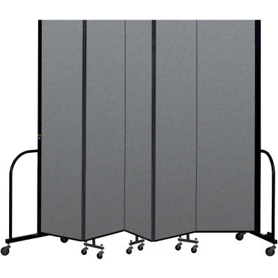 "Screenflex Portable Room Divider 5 Panel, 8'H x 9'5""L, Fabric Color: Gray"