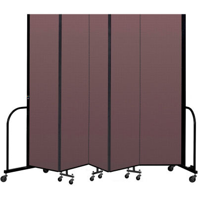 """Screenflex Portable Room Divider 5 Panel, 8'H x 9'5""""L, Fabric Color: Mauve"""