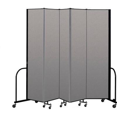 """Screenflex Portable Room Divider 5 Panel, 8'H x 9'5""""L, Vinyl Color: Gray"""