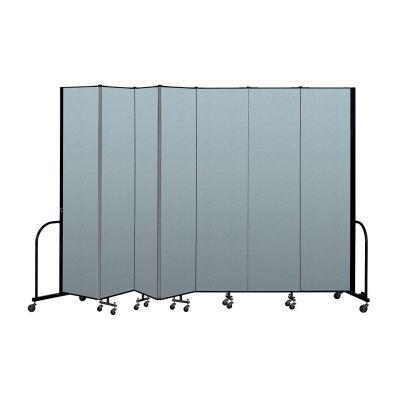 "Screenflex Portable Room Divider 7 Panel, 8'H x 13'1""L, Vinyl Color: Blue"