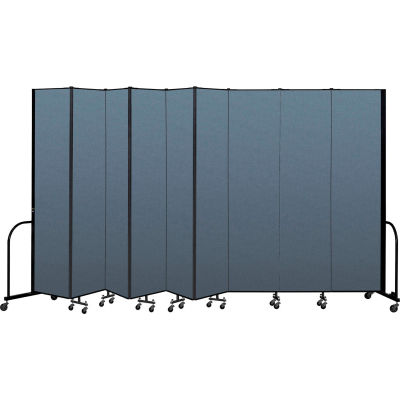 "Screenflex Portable Room Divider 9 Panel, 8'H x 16'9""L, Fabric Color: Blue"