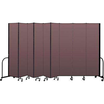 """Screenflex Portable Room Divider 9 Panel, 8'H x 16'9""""L, Fabric Color: Mauve"""