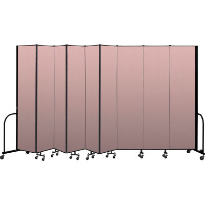 """Screenflex Portable Room Divider 9 Panel, 8'H x 16'9""""L, Vinyl Color: Mauve"""