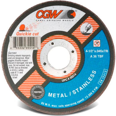 "CGW Abrasives 35516 Cut-Off Wheel 5"" x 7/8"" 36 Grit Type 1 Zirconia Aluminium Oxide - Pkg Qty 25"
