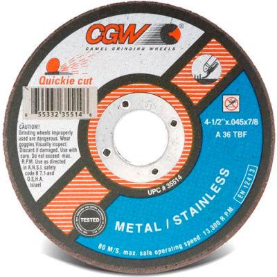 "CGW Abrasives 35517 Cut-Off Wheel 6"" x 7/8"" 36 Grit Type 1 Zirconia Aluminium Oxide - Pkg Qty 25"