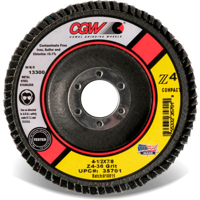 "CGW Abrasives 35714 Z4 Flap Disc 4-1/2"" X 5/8-11"" 60 Grit Premium Zirconia Made In The USA - Pkg Qty 10"