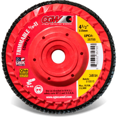 "CGW Abrasives 35751 Z4 Flap Disc 4-1/2"" X 5/8-11"" 36 Grit Premium Zirconia Made In The USA - Pkg Qty 10"