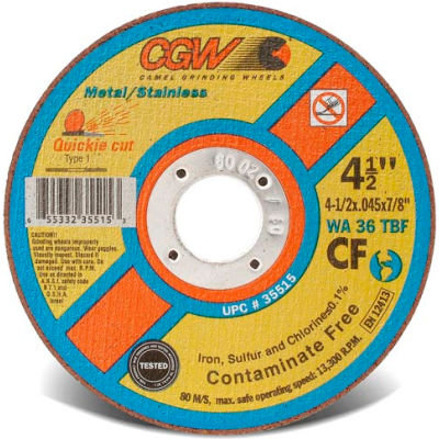 "CGW Abrasives 36301 Cut-Off Wheel 5"" x 7/8"" 36 Grit Type 1 Aluminum Oxide - Pkg Qty 25"