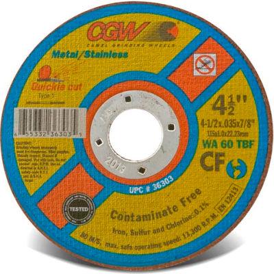 "CGW Abrasives 36303 Cut-Off Wheel 4-1/2"" x 7/8"" 60 Grit Type 1 Aluminum Oxide - Pkg Qty 25"