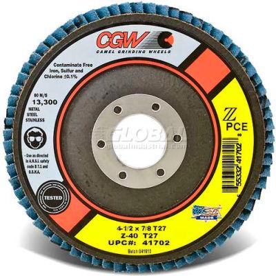 "CGW Abrasives 41705 Abrasive Flap Disc 4-1/2"" x 7/8"" 80 Grit Zirconia - Pkg Qty 10"