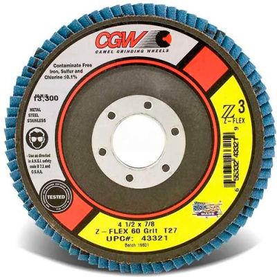 "CGW Abrasives 43343 Abrasive Flap Disc 4-1/2"" x 5/8 - 11"" 80 Grit Zirconia - Pkg Qty 10"