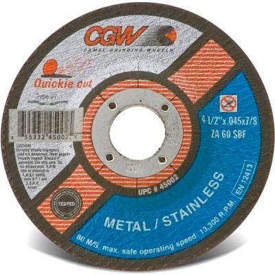 "CGW Abrasives 45002 Cut-Off Wheel 4-1/2"" x 7/8"" 60 Grit Type 27 Zirconia Aluminium Oxide - Pkg Qty 25"