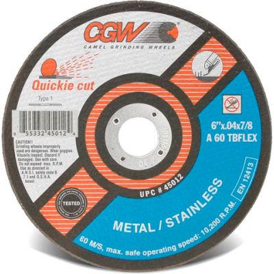 "CGW Abrasives 45012 Cut-Off Wheel 6"" x 7/8"" 60 Grit Type 1 Zirconia Aluminium Oxide - Pkg Qty 25"